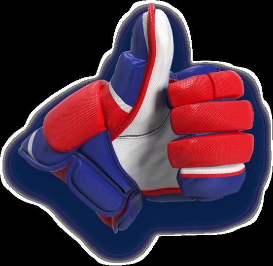 Pouce en l'air avec un gant de hockey